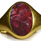 Ancient Signet Rings with Rich Red Color & Vibrant Burma Ruby in Gold Signet Ring Depicting a King