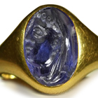 Ancient Rich Blue Color & Vibrant Burma Sapphire in Gold Signet Ring Depicting A Roman Emporer