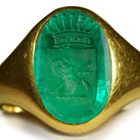 Ancient Rich Green Color & Vibrant Egypt Emerald Red Sea in Gold Signet Ring Depicting A Ram