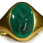 Ancient Rich Green Color & Vibrant Emerald Red Sea in Gold Signet Ring Depicting A Lion