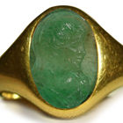 Ancient Rich Green Color & Vibrant Egypt Emerald Red Sea in Gold Signet Ring Depicting A Emporer