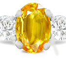 Oval Yellow Sapphire Ring with Diamond Accents in 14k White Gold (6x4 mm)